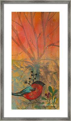 Framed Print featuring the painting Red Peace Bird by Robin Maria Pedrero
