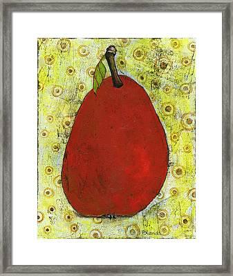 Red Pear Circle Pattern Art Framed Print