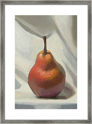 Red Pear Framed Print by Peter Orrock