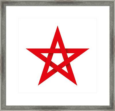 Red Pentagram 3d Framed Print by Peter Hermes Furian