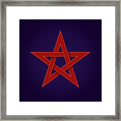Red Pentagram On Blue Background Framed Print by Peter Hermes Furian