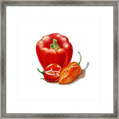 Red Pepper With Hot Peppers Framed Print