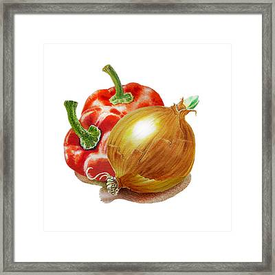Red Peppers And Onion Framed Print by Irina Sztukowski