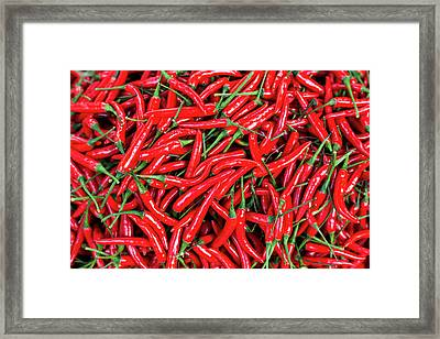 Red Peppers For Sale In Market Framed Print