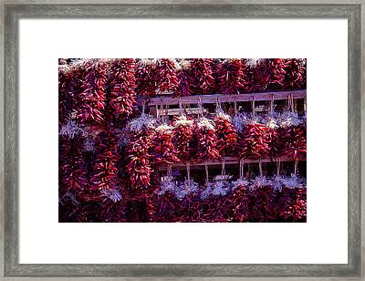 Red Peppers In Bunches Framed Print