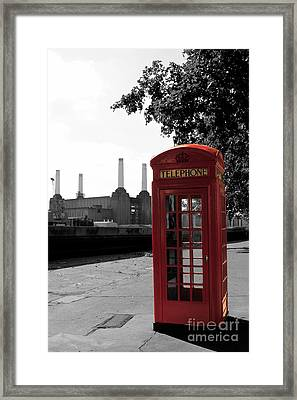 Battersea Power Station And The Red Phone Box Framed Print