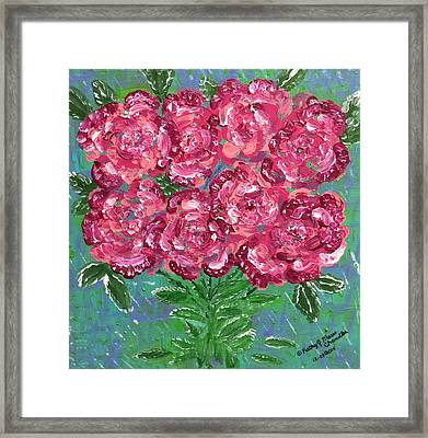 Red Pink Roses Framed Print