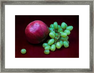 Red Pomegranate And Green Grapes Framed Print