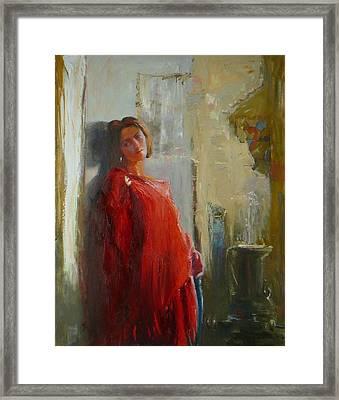 Red Poncho Framed Print by Irena  Jablonski