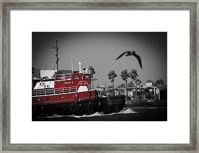 Red Pop Tugboat Framed Print