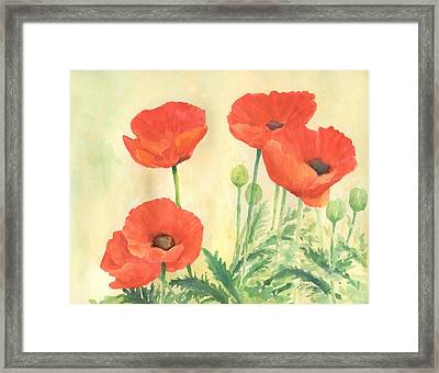 Red Poppies 3 Colorful Watercolor Poppy Floral Original Art Flowers Garden Artist K. Joann Russell Framed Print