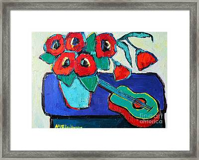 Red Poppies And Guitar  Framed Print by Ana Maria Edulescu