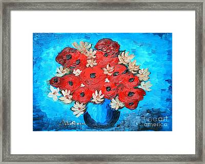 Red Poppies And White Daisies Framed Print