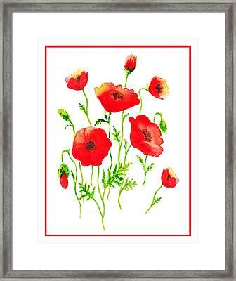 Red Poppies Botanical Design Framed Print by Irina Sztukowski
