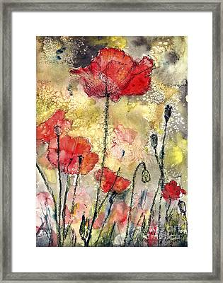 Red Poppies Botanical Watercolor And Ink Framed Print