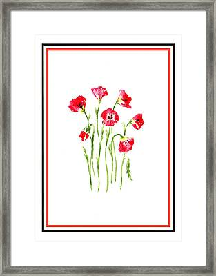 Red Poppies Bunch Framed Print