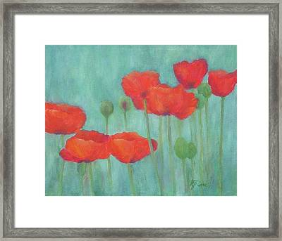 Red Poppies Colorful Poppy Flowers Original Art Floral Garden  Framed Print