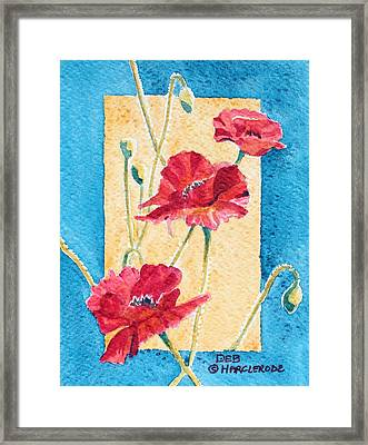 Red Poppies Framed Print by Deb  Harclerode