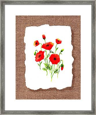 Red Poppies Decorative Collage Framed Print