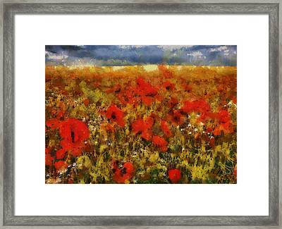 Framed Print featuring the painting Red Poppies by Georgi Dimitrov