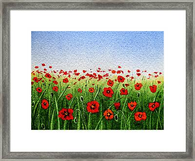 Red Poppies Green Field And A Blue Blue Sky Framed Print