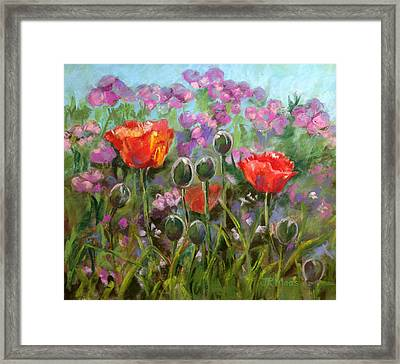 Red Poppies Framed Print by Julie Maas