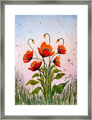 Red Poppies Original Watercolor  Framed Print