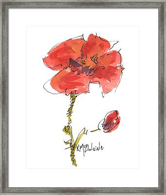 Red Poppy And Pal Framed Print by Kathleen McElwaine