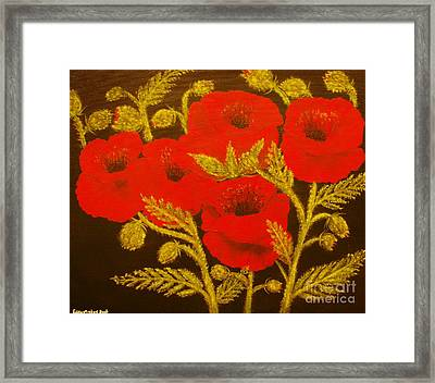 Red Poppy-original Sold-buy Giclee Print Nr 31 Of Limited Edition Of 40 Prints  Framed Print by Eddie Michael Beck