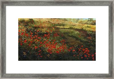 Red Poppy Field Framed Print by Cecilia Brendel