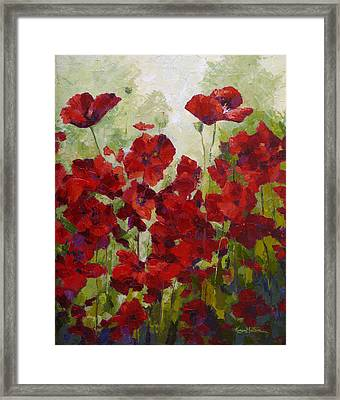 Red Poppy Field Framed Print by Karen Mattson