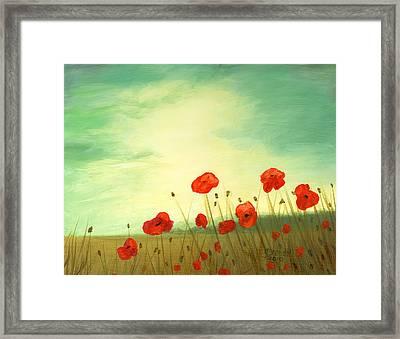 Red Poppy Field With Green Sky Framed Print