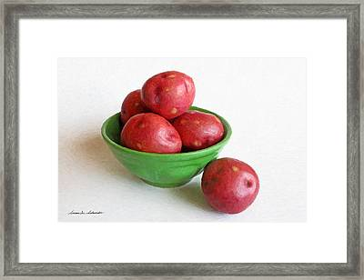 Red Potatoes In A Green Bowl Framed Print