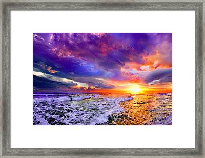 Red Purple Sea Sunset-sun Trail Waves Seascape Framed Print