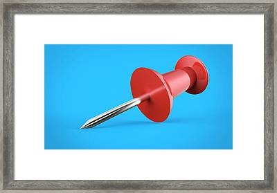 Red Push Pin Framed Print