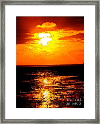 Red Rage Of Dusk Framed Print by Q's House of Art ArtandFinePhotography