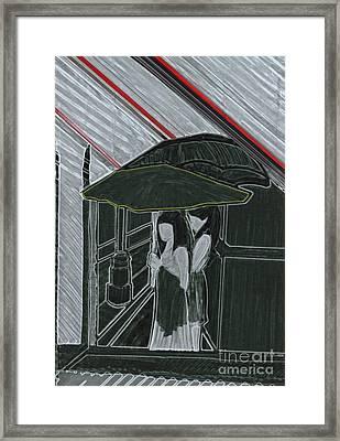 Red Rain Framed Print by First Star Art
