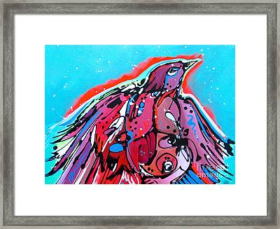 Framed Print featuring the painting Red Raven by Nicole Gaitan