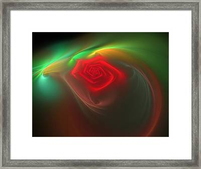 Framed Print featuring the digital art Red Red Rose by Svetlana Nikolova