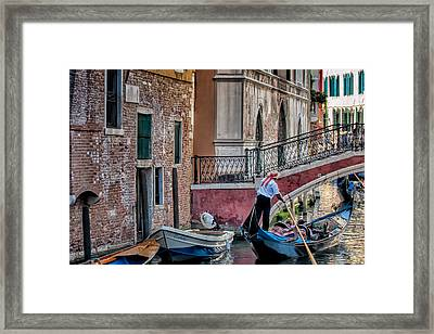 Red Ribbon Gondolier Framed Print by Joan Herwig
