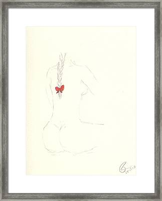 Red Ribbon Framed Print by Paolo Marini
