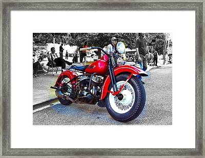 Red Rider On Black Framed Print
