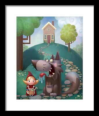 Little Red Riding Hood Framed Prints