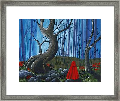 Red Riding Hood In The Forest Framed Print