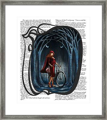 Red Riding Hood With Text Framed Print by Sassan Filsoof