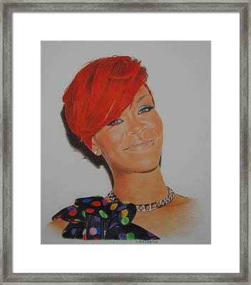 Red Rihanna. Framed Print