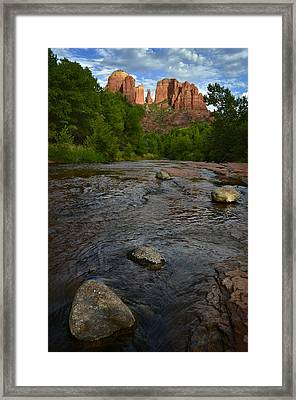 Red River Crossing Under Cathedral Rock Framed Print