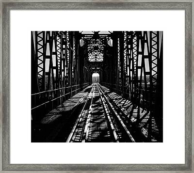 Red River Rail Road Crossing In Bw Framed Print by Diana Mary Sharpton