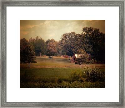 Red Roadside Barn Framed Print by Jai Johnson