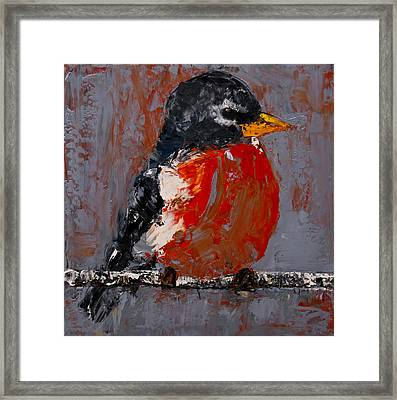 Framed Print featuring the painting Red Robin by Jani Freimann